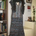 Kékes-barnás horgolt ruha, Táska, Divat & Szépség, Ruha, divat, Női ruha, Ruha, Meleg ruhát horgoltam gyapjú tartalmú fonalból.Mintája rugalmas, így több méretre is alkalmas. A sál..., Meska