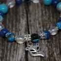 Kék, rókicás karkötő, Ruha, divat, cipő, Ékszer, Karkötő, A karkötő üveggyöngyökből, akril gyöngyökből és nikkelmentes szerelékből készült. Hoss..., Meska