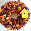 Őszi ajtódísz, kopogtató, asztaldísz, Dekoráció, Otthon, lakberendezés, Ajtódísz, kopogtató, Asztaldísz, Virágkötés, Őszi színek meleg harmóniája adta az ötletet az ajtódíszhez. Sok-sok narancs, barna,sárgás színben ..., Meska