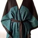 Tűrkíz fekete poncsó, Ruha, divat, cipő, Női ruha, Poncsó, Dekoratív poncsó, akár kabát hellyet is hordható enyhébb időben. Hossza elöl - hátul 86 cm...., Meska