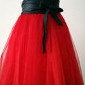 """"""" Ada"""" piros tüll szoknya, Ruha, divat, cipő, Női ruha, Ruha, Piros tüll szoknya.  Hossza 53 cm. Szaténból készült az alsószoknya amely szabásának köszönhetően na..., Meska"""