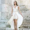 Edana esküvői ruha, Ruha, divat, cipő, Esküvői ruha, Női ruha, Varrás, Beige és törtfehér csipke kombinálásával készült ruha. Szoknyarész levehető. 38 méret. Hossza 93 cm., Meska
