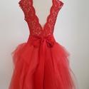 Lamor menyecske ruha, Ruha, divat, cipő, Esküvői ruha, Piros elasztikus csipkeanyagból készült body + piros tüllszoknyával. 38 méret. A szoknya derekat kie..., Meska
