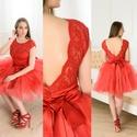 Nelli  piros csipkebody, Ruha, divat, cipő, Női ruha, Ruha, Elasztikus csipkéből készült kényelmes body.  Méretre készül., Meska