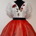Magyaros menyecskeruha , Ruha, divat, cipő, Esküvői ruha, A ruha felsőrésze egy body. A szoknya külön van,  többrétegű tüll illetve organza szoknya rétegekböl..., Meska
