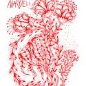Nayeli Flow tornazsákok, Táska & Tok, Hátizsák, Gymbag, Fotó, grafika, rajz, illusztráció, Nayeli Flow-W001  // műszál, fehér tornazsák piros nyomat 33x43cm // 100% polyester white Gymbag, r..., Meska