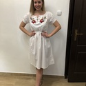 Kézzel hímzett kalocsai mintás lenge nyári midi ruha , Ruha & Divat, Női ruha, Ruha, Hímzés, Kézzel hímzett kalocsai mintás, nyári lenge midi ruha. S/M-es méret Elől a fűzős része megköthető, ..., Meska