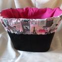 Kerékpár táska, bicikli kosártáska 2in1 rózsaszín cicák, Táska, Szatyor, Kosár, Varrás, Igazi csajos összeállítást készítettem! Fekete cicás és ráadásképp még pink is!  Dekoratív része le..., Meska