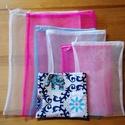 6 db-os tüllzsák-szett bevásárláshoz, ajándék tárolóval - pink/türkiz, Táska, Szatyor, Tegyél Te is egy lépést a környezettudatosság felé: felejtsd el az egyszer használatos nejlonzacskók..., Meska