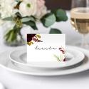 Bordó virágos esküvői ültetőkártya, esküvői ültetőkártya, ültetúkártya, akvarell hatású, romantikus meghívó, Esküvő, Esküvői dekoráció, Meghívó, ültetőkártya, köszönőajándék, A K V A R E L L  H A T Á S Ú   B O R D Ó  V I R Á G O S  E L E G Á N S   E S K Ü V Ő I   Ü L..., Meska