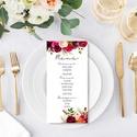 Bordó virágos esküvői menülap, esküvői menülap, bordó menülap, virágos menülap, akvarell hatású, romantikus, Esküvő, Esküvői dekoráció, Meghívó, ültetőkártya, köszönőajándék, A K V A R E L L  H A T Á S Ú   B O R D Ó  V I R Á G O S  E L E G Á N S   E S K Ü V Ő I   M E ..., Meska