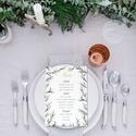 Greenery stíluú esküvői menülap, greenery menülap, esküvői menülapl, akvarell hatású levelekkel, zöld menülap, Esküvő, Esküvői dekoráció, Meghívó, ültetőkártya, köszönőajándék, L E T I S Z T U L T  G R E E N E R Y   S T Í L U S Ú   E S K Ü V Ő I   M E N Ü L A P  Esküvői..., Meska