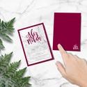 Márvány hatású esküvői meghívó, márvány meghívó, bordó meghívó, esküvői meghívó, 2018, trend