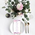 Romantikus esküvői menülap, esküvői menülap, akvarell hatású, lila, rózsaszín, Esküvő, Esküvői dekoráció, Meghívó, ültetőkártya, köszönőajándék, RO M A N T I K U S A K V A R E L L E S K Ü V Ő I M E N Ü L A P  Esküvői menülap igényes kiala..., Meska