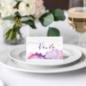 Romantikus esküvői ültetőkártya, esküvői ültetőkártya, akvarell hatású, lila, rózsaszín, Esküvő, Esküvői dekoráció, Meghívó, ültetőkártya, köszönőajándék, RO M A N T I K U S A K V A R E L L E S K Ü V Ő I Ü L T E T Ő K Á R T Y A Esküvői ültetőkár..., Meska