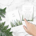 Erdei esküvői meghívó, greenery stílusú, esküvői meghívó, greenery meghívó, zöld, akvarell hatású