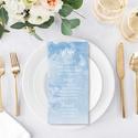Kék esküvői menülap, akvarell menülap, kék menülap, esküvői menülap, felhő, Esküvő, Meghívó, ültetőkártya, köszönőajándék, Esküvői dekoráció, A R E L L H A T Á S Ú K É K E S K Ü V Ő I M E N Ü L A P  Esküvői menülap igényes kialakít..., Meska