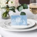 Kék esküvői ültetőkártya, akvarell ültetőkártya, kék ültetőkártya, esküvői ültetőkártya, felhő, Esküvő, Meghívó, ültetőkártya, köszönőajándék, Esküvői dekoráció, A R E L L H A T Á S Ú K É K E S K Ü V Ő I Ü L T E T Ő K Á R T Y A   Esküvői ültetőkárty..., Meska