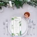 Greenery esküvői menülap, zöld menülap, esküvői menülap, kalligráfia, 2018, modern, trópusi, leveles