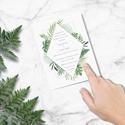 Geometrikus greenery esküvői meghívó, zöld meghívó, esküvői meghívó, kalligráfia, 2018, modern, trópusi, leveles, Esküvő, Meghívó, ültetőkártya, köszönőajándék, Esküvői dekoráció, M O D E R N G R E E N E R Y E S K Ü V Ő I M E G H Í V Ó G E O M E T R I K U S M I N T Á B A N  ..., Meska
