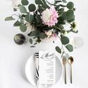 Grafikai esküvői menülap, fekete-fehér menülap, kalligrafikus menülap, esküvői menülap, kalligráfia, 2018, modern, Esküvő, Meghívó, ültetőkártya, köszönőajándék, Esküvői dekoráció, M O D E R N E S K Ü V Ő I M E N Ü L A P  Esküvői menülap igényes kialakítással.   MÉRET: 9..., Meska