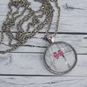 Szerelmes piros madárkás nyaklánc, Ékszer, óra, Nyaklánc, Üveglencsés technikával készült szerelmes piros madárkás nyaklánc.  Medál mérete  3 cm, a lánc hossz..., Meska