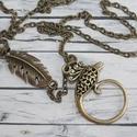 Antik hatású főnix madaras nyaklánc, Ékszer, óra, Nyaklánc, Antik hatású főnix madaras nyaklánc, a lánc egyik oldalán toll díszítés található. A madár hossza 3,..., Meska