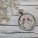Szerelmes piros madárkás nyaklánc, Ékszer, Mindenmás, Nyaklánc, Üveglencsés technikával készült szerelmes piros madárkás nyaklánc.  Medál mérete  2,8 cm, ..., Meska