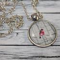 Párját váró piros madárkás nyaklánc, Ékszer, óra, Mindenmás, Nyaklánc, Üveglencsés technikával készült szerelmes piros madárkás nyaklánc.  Medál mérete  2,8 cm, ..., Meska