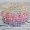 Pasztell rózsaszín, pasztell lila és gyöngyház memória karkötő, igazán divatos nyári memória karkötő. pasztel...