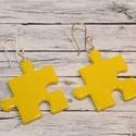 Citromsárga puzzle fülbevaló, Ékszer, óra, Medál, Nyaklánc, Hőre keményedő gyurmából készült citromsárga puzzle fülbevaló. Mérete 2,5x2,5 cm.  Saját készítésű e..., Meska