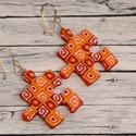 Citrom narancs és piros mintás puzzle fülbevaló, Ékszer, óra, Medál, Nyaklánc, Hőre keményedő gyurmából készült citrom narancs és piros mintájú puzzle fülbevaló. Mérete 2,5x2,5 cm..., Meska