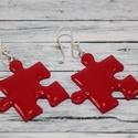 Piros puzzle fülbevaló, Ékszer, óra, Fülbevaló, Hőre keményedő gyurmából készült füli. Hossza 2,5 cm.A színeket szabadon lehet kombinálni, sárgát zö..., Meska