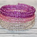 Áttetsző lila színátmenetes memória karkötő, Ékszer, Mindenmás, Karkötő, igazán divatos nyári lila és rózsaszín memória karkötő. A belső átmérője 5,7 cm, de szinte minden cs..., Meska