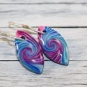 Mini csepp kék lila fülbevaló, Ékszer, óra, Mindenmás, Fülbevaló, Hőre keményedő gyurmából készült mini csepp fülbevaló, hossz mindössze 2 cm.   Azoknak ajánlom akik ..., Meska
