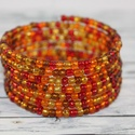 Tábortűz memória karkötő,barna, piros, narancs, Őszi avar színű memória karkötő. Narancs , p...