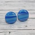 Kék csíkos bedugós pötty fülbevaló, Ékszer, óra, Fülbevaló, Hőre keményedő gyurmából készült kék csíkos bedugós pötty fülbevaló. Mérete 1,5 cm. Alapja nikkelmen..., Meska
