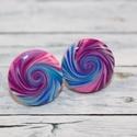 Kék lila csiga bedugós pötty fülbevaló, Hőre keményedő gyurmából készült kék lila ...