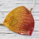 Elegáns napsárga lila nyaklánc, Ékszer, Nyaklánc, Különleges technikával készült üveg hatású nyaklánc, mégsem törékeny és nagyon könnyű elegáns, alkal..., Meska