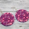 Nagy lila rózsaszín kerek fülbevaló, Ékszer, óra, Fülbevaló, Hőre keményedő gyurmából készült lila, pink, rószaszín fülbevaló. Átmérője 3,8 cm. Saját készítésű e..., Meska