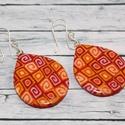 Piros narancs teli csepp fülbevaló, Ékszer, óra, Fülbevaló, Hőre keményedő gyurmából készült csepp fülbevaló. Hossza 3,3cm . Saját készítésű antiallergén ezüstö..., Meska