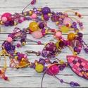 Citrom és lila gyöngyös nyaklánc, Hőre keményedő gyurma és különböző lila, c...