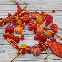 Piros narancs gyöngyös nyaklánc, Hőre keményedő gyurma és különböző piros n...