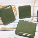 Elegáns olíva zöld és arany csillámos nyaklánc, fülbevaló, gyűrű és karkötő szett, Ékszer, óra, Esküvő, Mindenmás, Ékszerszett, Hőre keményedő gyurmából készült elegáns, minden alkalomra illő olíva zöld színű arany csillámos fül..., Meska