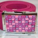 Pink öv rózsaszín mintás csattal, gyerek méret, Ruha, divat, cipő, Öv, A hőre keményedő gyurmából készült 1mm vékony minta, két komponensű extra erős ragaszóval van ráraga..., Meska