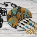 Elegáns türkiz arany fekete leveles nyaklánc, Ékszer, óra, Nyaklánc, Különleges technikával készült üveg hatású nyaklánc, mégsem törékeny és nagyon könnyű elegáns, alkal..., Meska