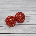 Piros bedugós pötty fülbevaló arany bevonattal, Ékszer, óra, Fülbevaló, Hőre keményedő gyurmából készült bedugós pötty fülbevaló. Mérete 0,8 cm. Alapja nikkelme..., Meska