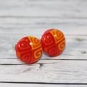 Piros narancs  bedugós pötty fülbevaló, Ékszer, óra, Fülbevaló, Hőre keményedő gyurmából készült bedugós pötty fülbevaló. Mérete 0,8 cm. Alapja nikkelmentes.  ..., Meska