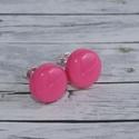 Pink, magenta bedugós pötty fülbevaló, Ékszer, óra, Fülbevaló, Hőre keményedő gyurmából készült pink,magenta bedugós pötty fülbevaló. Mérete 0,8 cm,  de boltomban ..., Meska