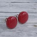 Piros bedugós pötty fülbevaló, Hőre keményedő gyurmából készült piros bedu...